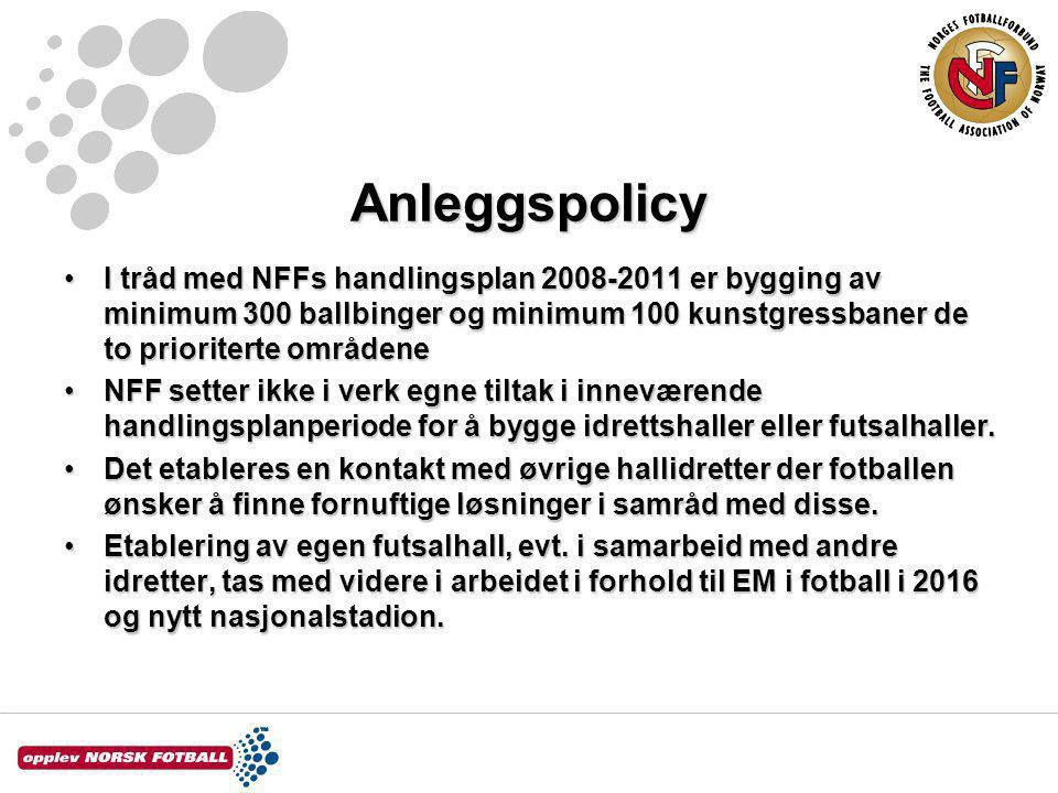 Anleggspolicy I tråd med NFFs handlingsplan 2008-2011 er bygging av minimum 300 ballbinger og minimum 100 kunstgressbaner de to prioriterte områdeneI tråd med NFFs handlingsplan 2008-2011 er bygging av minimum 300 ballbinger og minimum 100 kunstgressbaner de to prioriterte områdene NFF setter ikke i verk egne tiltak i inneværende handlingsplanperiode for å bygge idrettshaller eller futsalhaller.NFF setter ikke i verk egne tiltak i inneværende handlingsplanperiode for å bygge idrettshaller eller futsalhaller.