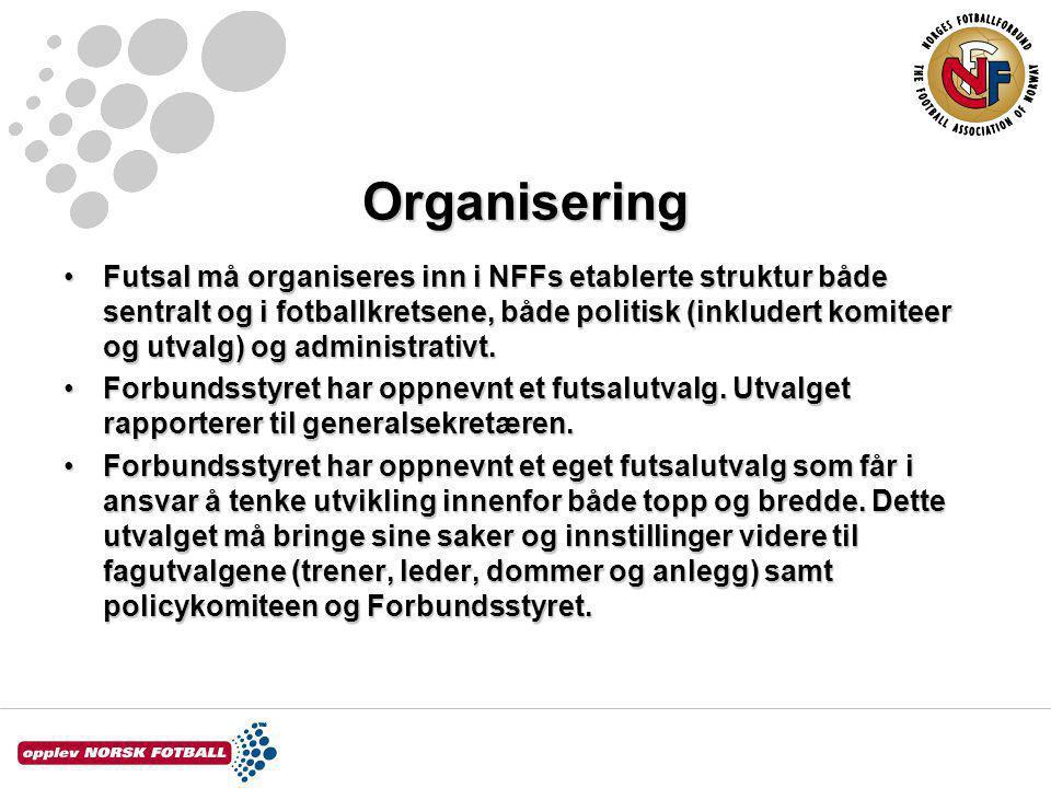 Organisering Futsal må organiseres inn i NFFs etablerte struktur både sentralt og i fotballkretsene, både politisk (inkludert komiteer og utvalg) og administrativt.Futsal må organiseres inn i NFFs etablerte struktur både sentralt og i fotballkretsene, både politisk (inkludert komiteer og utvalg) og administrativt.