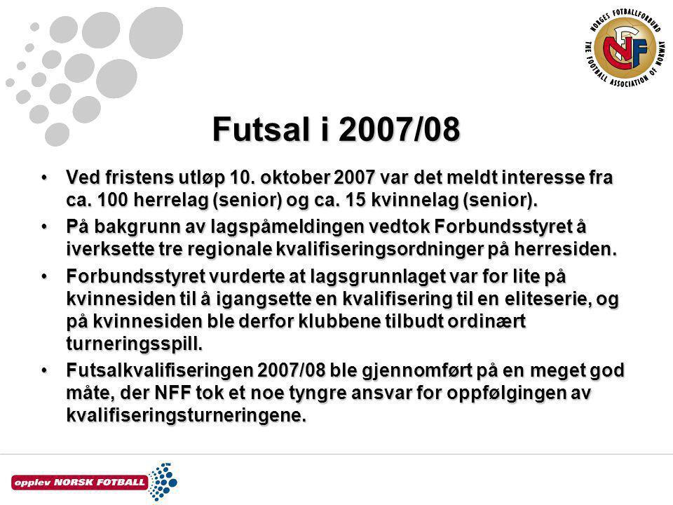 Futsal i 2007/08 Ved fristens utløp 10. oktober 2007 var det meldt interesse fra ca.