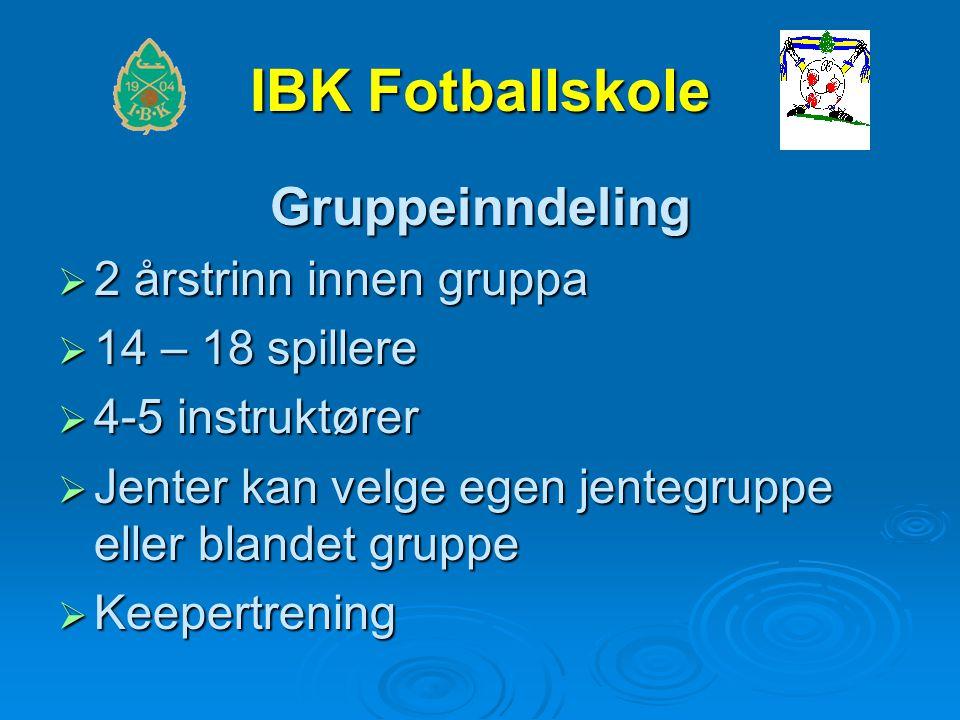 IBK Fotballskole Gruppeinndeling  2 årstrinn innen gruppa  14 – 18 spillere  4-5 instruktører  Jenter kan velge egen jentegruppe eller blandet gruppe  Keepertrening