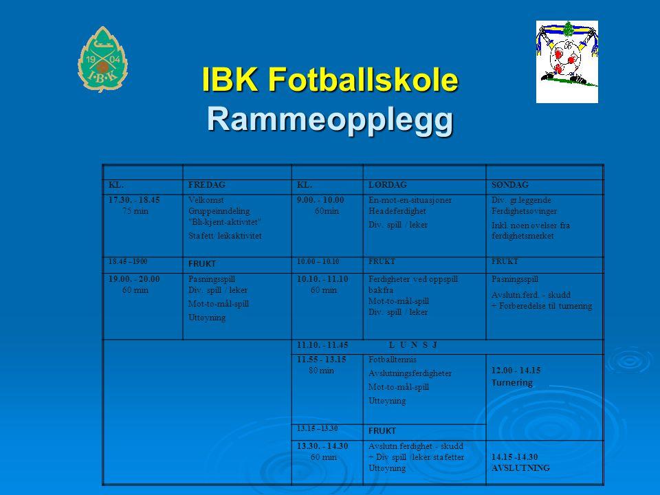 IBK Fotballskole Rammeopplegg KL.FREDAGKL.LØRDAGSØNDAG 17.30.