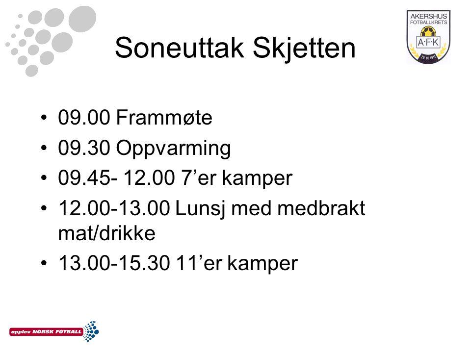 Soneuttak Skjetten 09.00 Frammøte 09.30 Oppvarming 09.45- 12.00 7'er kamper 12.00-13.00 Lunsj med medbrakt mat/drikke 13.00-15.30 11'er kamper