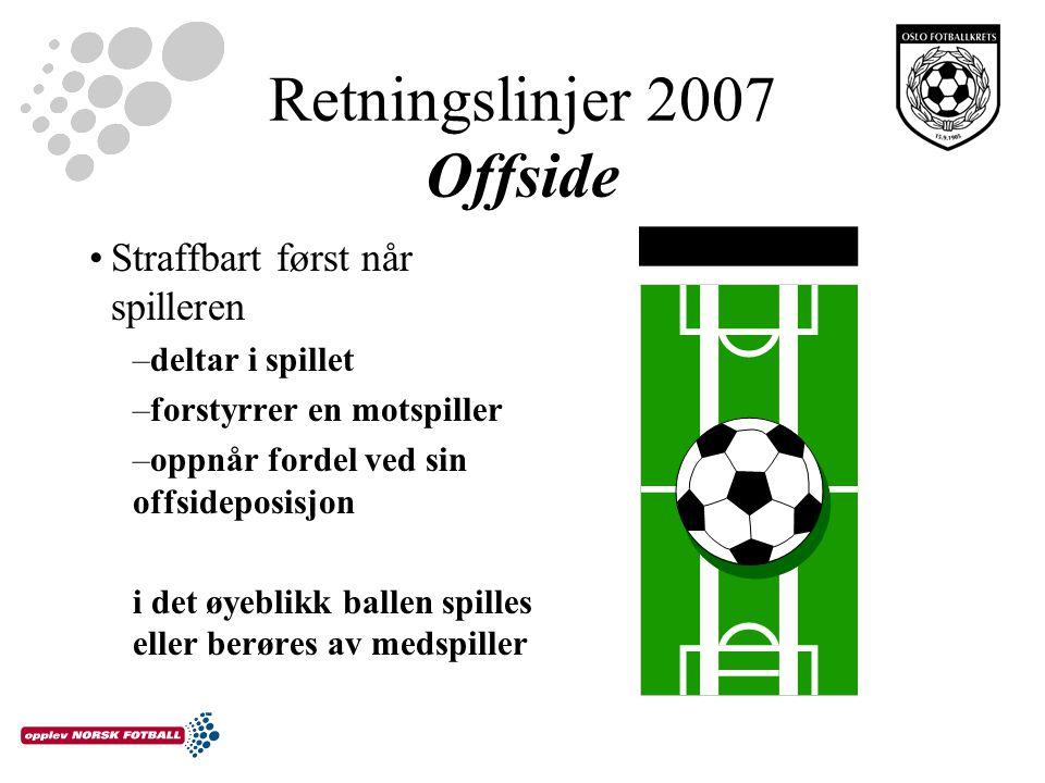 Retningslinjer 2007 Offside Straffbart først når spilleren –deltar i spillet –forstyrrer en motspiller –oppnår fordel ved sin offsideposisjon i det øyeblikk ballen spilles eller berøres av medspiller