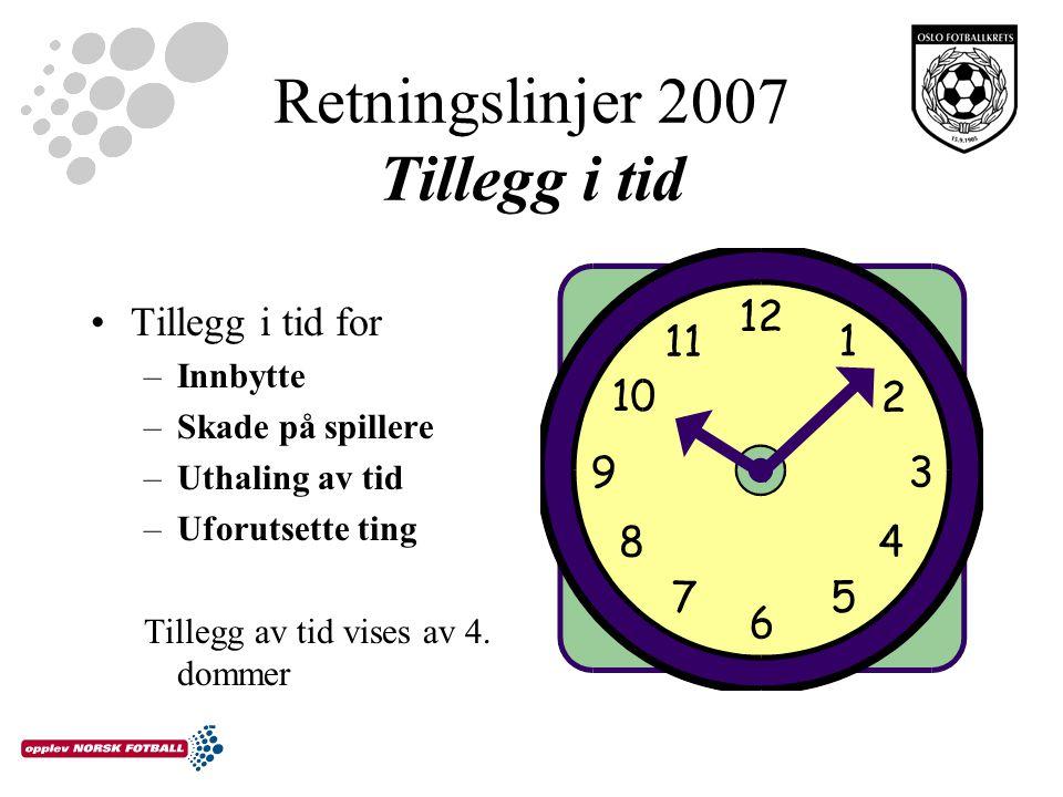 Retningslinjer 2007 Tillegg i tid Tillegg i tid for –Innbytte –Skade på spillere –Uthaling av tid –Uforutsette ting Tillegg av tid vises av 4.