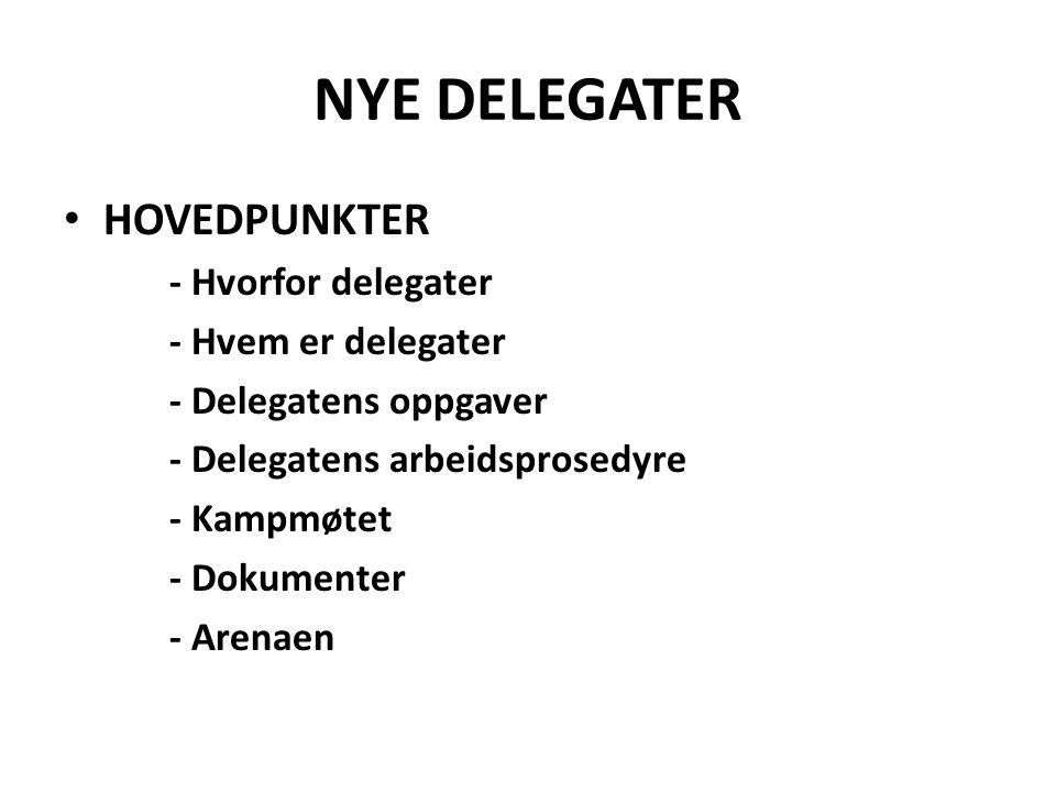 NYE DELEGATER HOVEDPUNKTER - Hvorfor delegater - Hvem er delegater - Delegatens oppgaver - Delegatens arbeidsprosedyre - Kampmøtet - Dokumenter - Arenaen