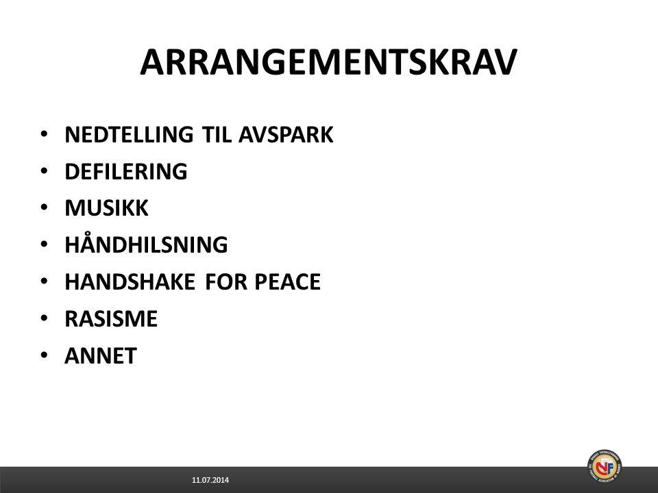 11.07.2014 ARRANGEMENTSKRAV NEDTELLING TIL AVSPARK DEFILERING MUSIKK HÅNDHILSNING HANDSHAKE FOR PEACE RASISME ANNET
