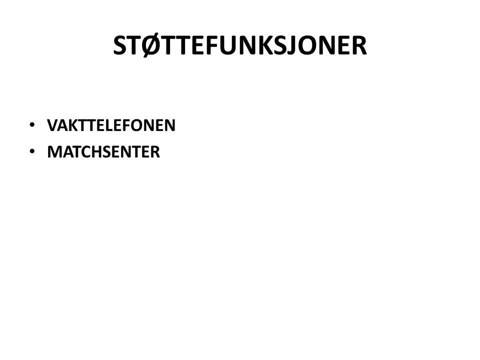 STØTTEFUNKSJONER VAKTTELEFONEN MATCHSENTER