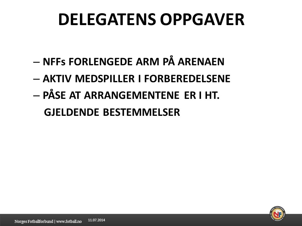 11.07.2014 DELEGATENS OPPGAVER OBSERVERE/EVALUERE OG EVT.