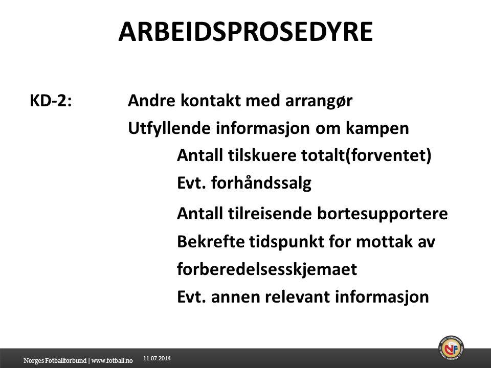 11.07.2014 ARBEIDSPROSEDYRE KD-2:Andre kontakt med arrangør Utfyllende informasjon om kampen Antall tilskuere totalt(forventet) Evt.
