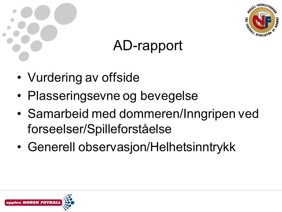 AD-rapport Vurdering av offside Plasseringsevne og bevegelse Samarbeid med dommeren/Inngripen ved forseelser/Spilleforståelse Generell observasjon/Hel