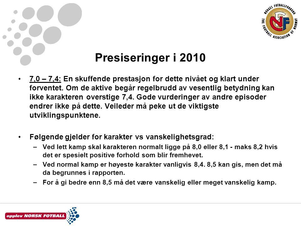 Presiseringer i 2010 7,0 – 7,4: En skuffende prestasjon for dette nivået og klart under forventet. Om de aktive begår regelbrudd av vesentlig betydnin