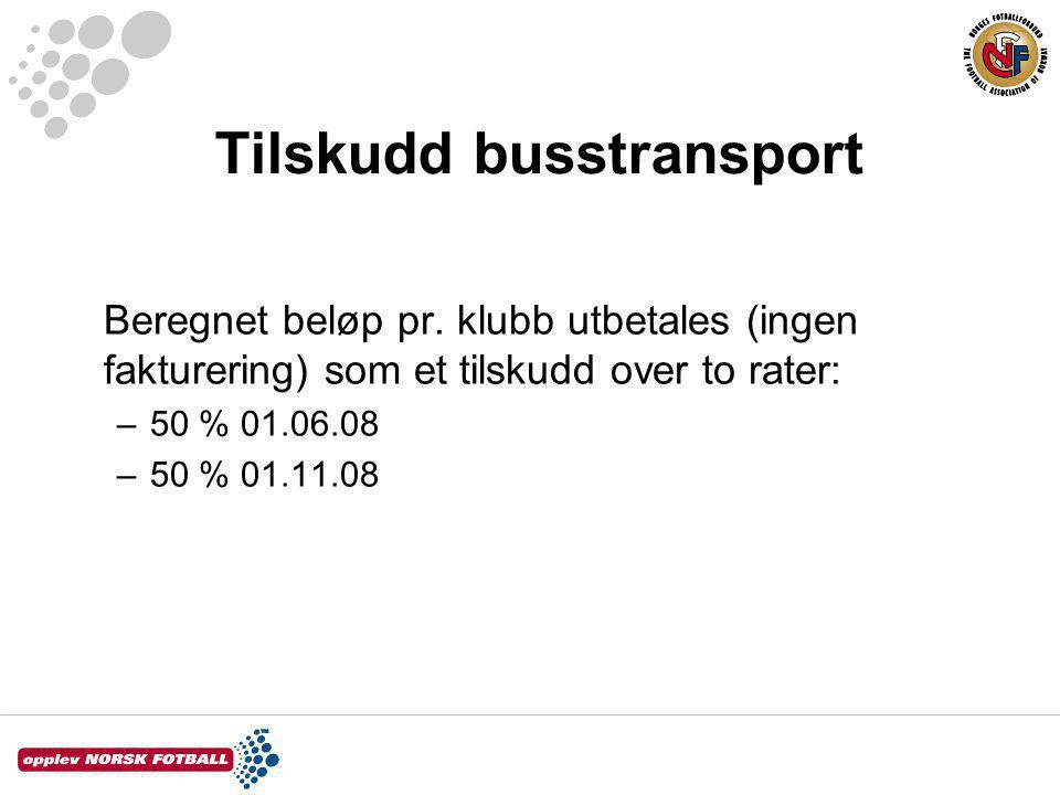 Tilskudd busstransport Beregnet beløp pr.