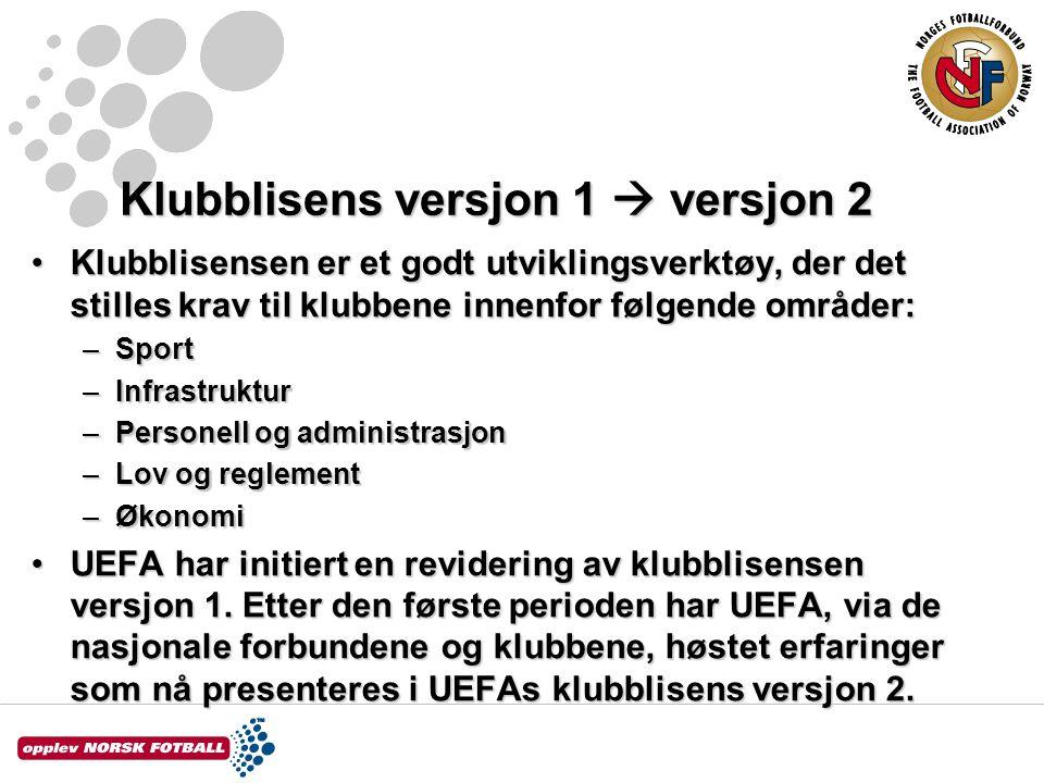 Klubblisens versjon 1  versjon 2 Klubblisensen er et godt utviklingsverktøy, der det stilles krav til klubbene innenfor følgende områder:Klubblisensen er et godt utviklingsverktøy, der det stilles krav til klubbene innenfor følgende områder: –Sport –Infrastruktur –Personell og administrasjon –Lov og reglement –Økonomi UEFA har initiert en revidering av klubblisensen versjon 1.