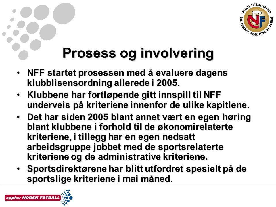 Prosess og involvering NFF startet prosessen med å evaluere dagens klubblisensordning allerede i 2005.NFF startet prosessen med å evaluere dagens klubblisensordning allerede i 2005.