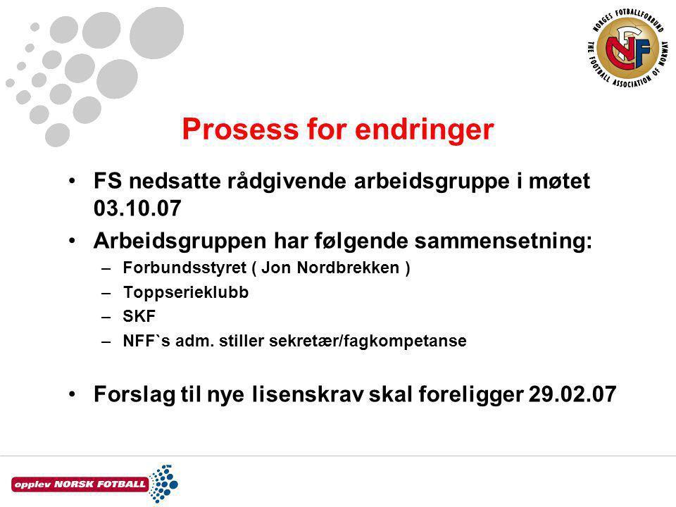 Prosess for endringer FS nedsatte rådgivende arbeidsgruppe i møtet 03.10.07 Arbeidsgruppen har følgende sammensetning: –Forbundsstyret ( Jon Nordbrekken ) –Toppserieklubb –SKF –NFF`s adm.