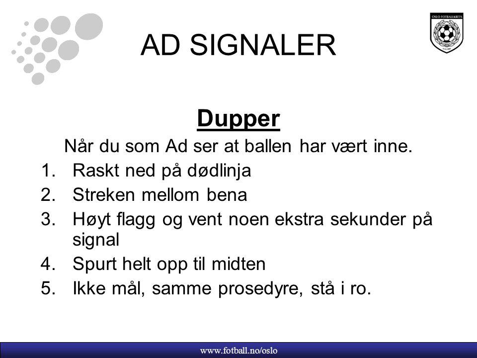 www.fotball.no/oslo AD SIGNALER Dupper Når du som Ad ser at ballen har vært inne.