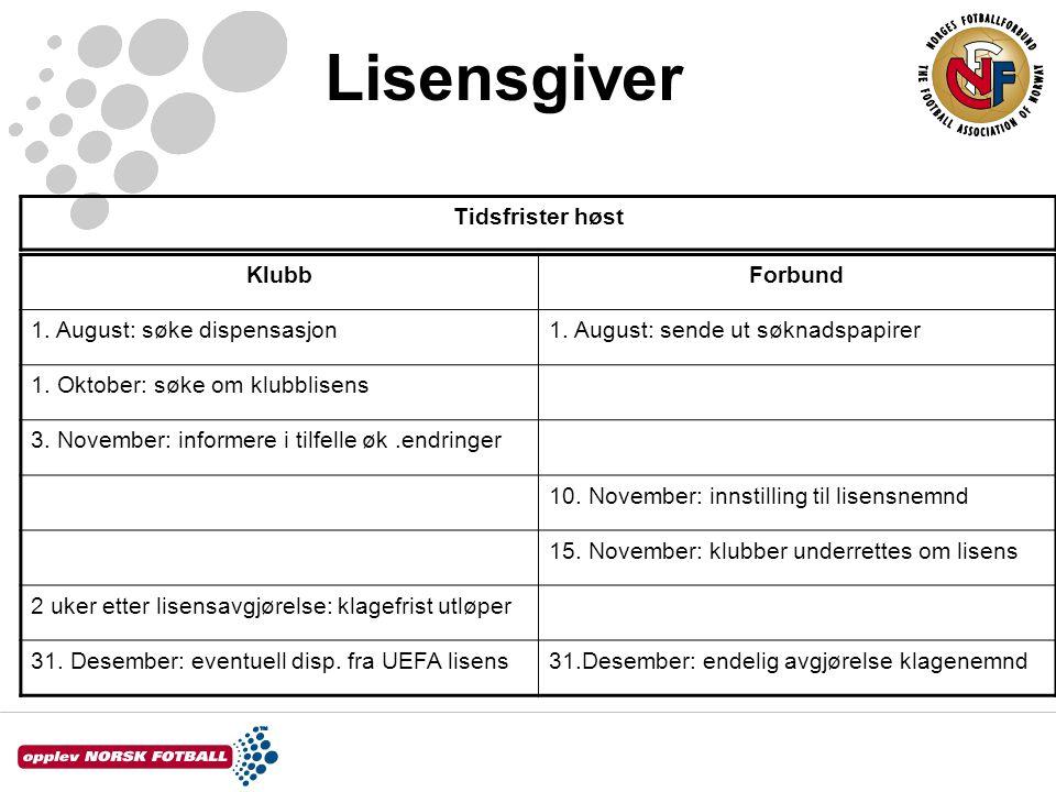 Lisensgiver KlubbForbund 1. August: søke dispensasjon1.