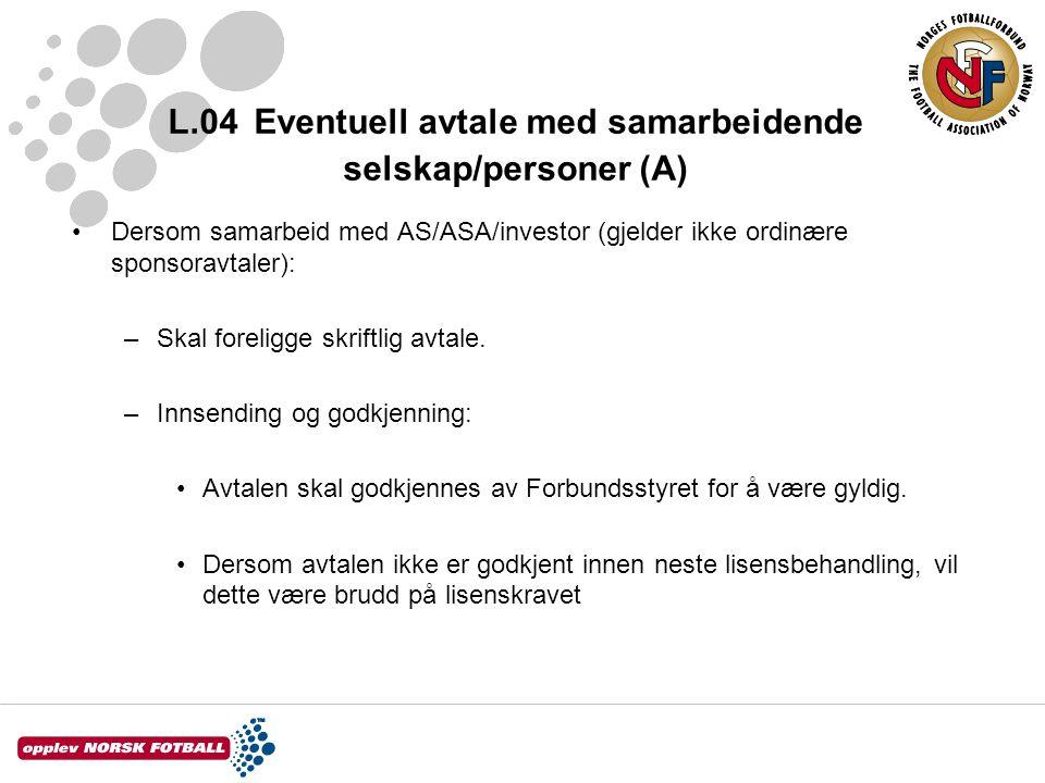 L.04 Eventuell avtale med samarbeidende selskap/personer (A) Dersom samarbeid med AS/ASA/investor (gjelder ikke ordinære sponsoravtaler): –Skal foreligge skriftlig avtale.