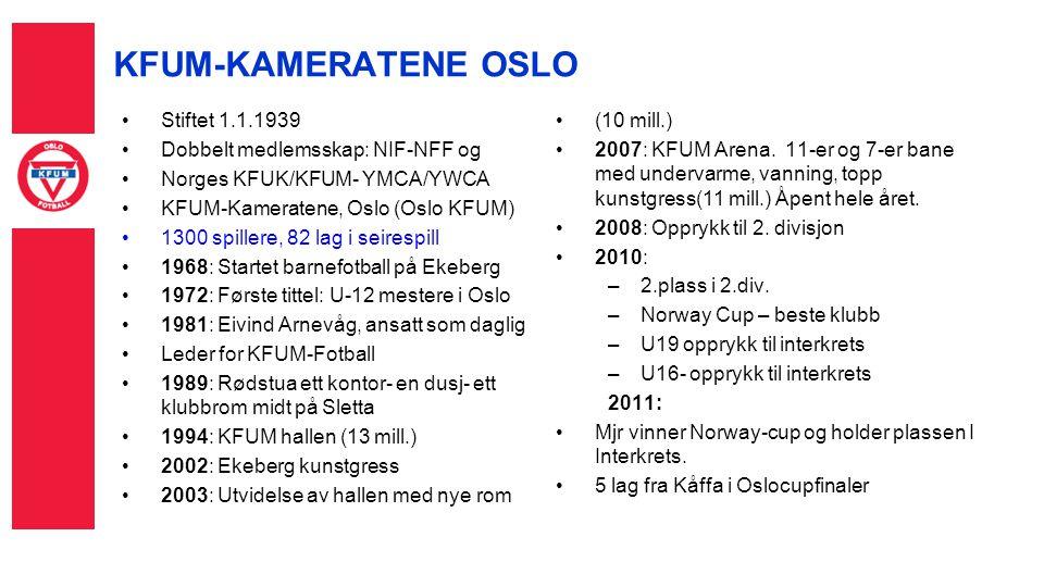 Stiftet 1.1.1939 Dobbelt medlemsskap: NIF-NFF og Norges KFUK/KFUM- YMCA/YWCA KFUM-Kameratene, Oslo (Oslo KFUM) 1300 spillere, 82 lag i seirespill 1968: Startet barnefotball på Ekeberg 1972: Første tittel: U-12 mestere i Oslo 1981: Eivind Arnevåg, ansatt som daglig Leder for KFUM-Fotball 1989: Rødstua ett kontor- en dusj- ett klubbrom midt på Sletta 1994: KFUM hallen (13 mill.) 2002: Ekeberg kunstgress 2003: Utvidelse av hallen med nye rom (10 mill.) 2007: KFUM Arena.