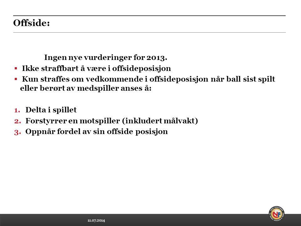 11.07.2014 Offside: Ingen nye vurderinger for 2013.