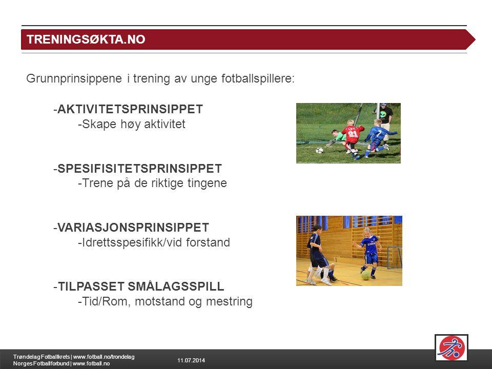 11.07.2014 Trøndelag Fotballkrets | www.fotball.no/trondelag Norges Fotballforbund | www.fotball.no TRENINGSØKTA.NO -AKTIVITETSPRINSIPPET -Skape høy aktivitet -SPESIFISITETSPRINSIPPET -Trene på de riktige tingene -VARIASJONSPRINSIPPET -Idrettsspesifikk/vid forstand -TILPASSET SMÅLAGSSPILL -Tid/Rom, motstand og mestring Grunnprinsippene i trening av unge fotballspillere: