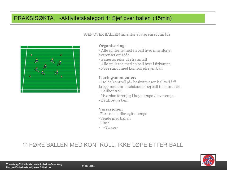 11.07.2014 Trøndelag Fotballkrets | www.fotball.no/trondelag Norges Fotballforbund | www.fotball.no PRAKSISØKTA-Aktivitetskategori 1: Sjef over ballen