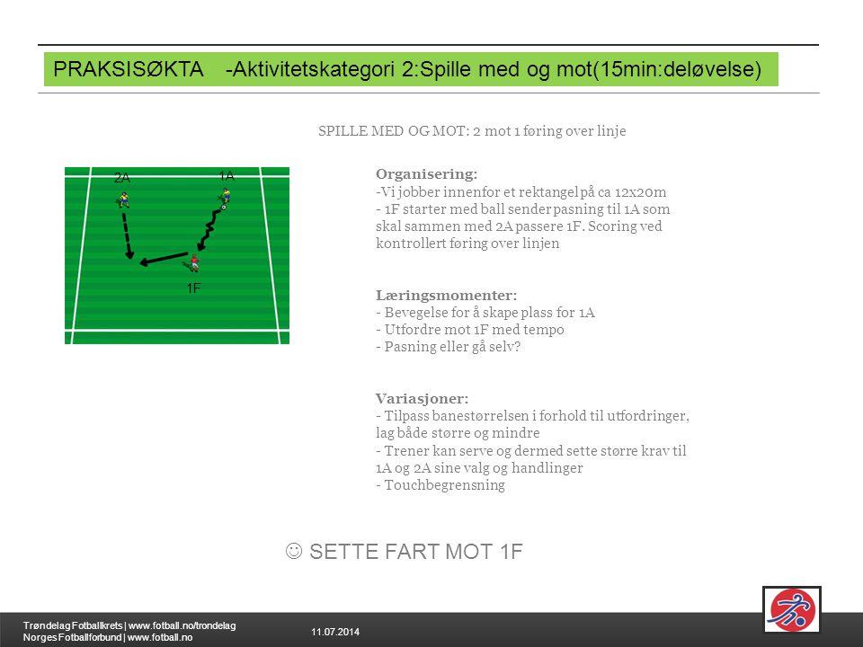 11.07.2014 Trøndelag Fotballkrets | www.fotball.no/trondelag Norges Fotballforbund | www.fotball.no PRAKSISØKTA-Aktivitetskategori 2:Spille med og mot