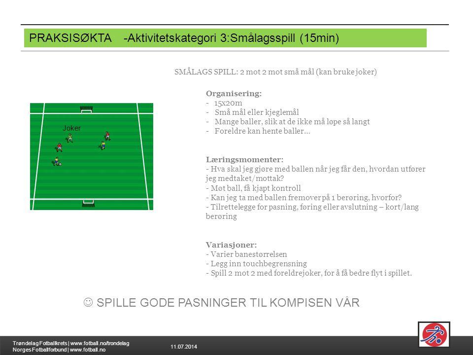 11.07.2014 Trøndelag Fotballkrets | www.fotball.no/trondelag Norges Fotballforbund | www.fotball.no PRAKSISØKTA-Aktivitetskategori 3:Smålagsspill (15m