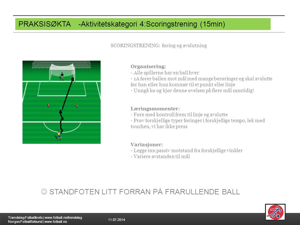 11.07.2014 Trøndelag Fotballkrets | www.fotball.no/trondelag Norges Fotballforbund | www.fotball.no PRAKSISØKTA-Aktivitetskategori 4:Scoringstrening (
