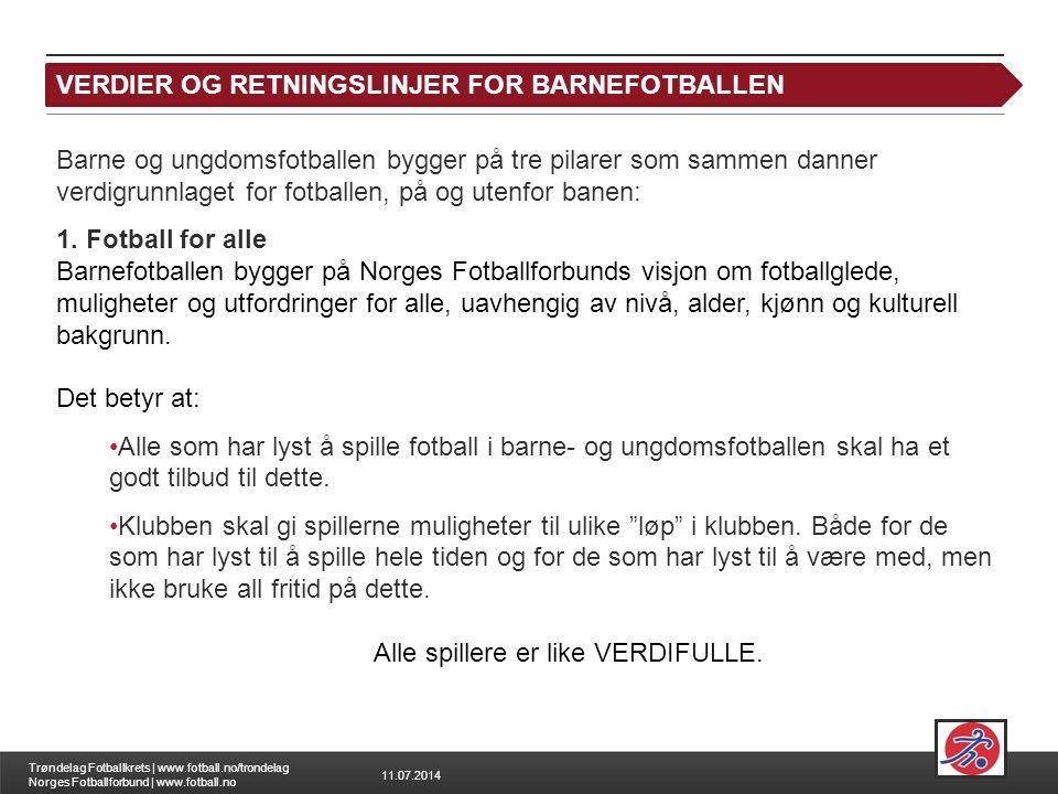 11.07.2014 Trøndelag Fotballkrets | www.fotball.no/trondelag Norges Fotballforbund | www.fotball.no Leksjon 1: Verdigrunnlaget Barne og ungdomsfotball