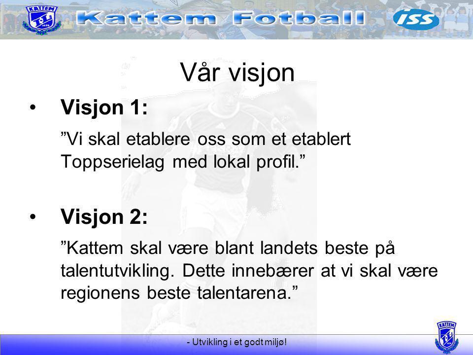 """- Utvikling i et godt miljø! Vår visjon Visjon 1: """"Vi skal etablere oss som et etablert Toppserielag med lokal profil."""" Visjon 2: """"Kattem skal være bl"""