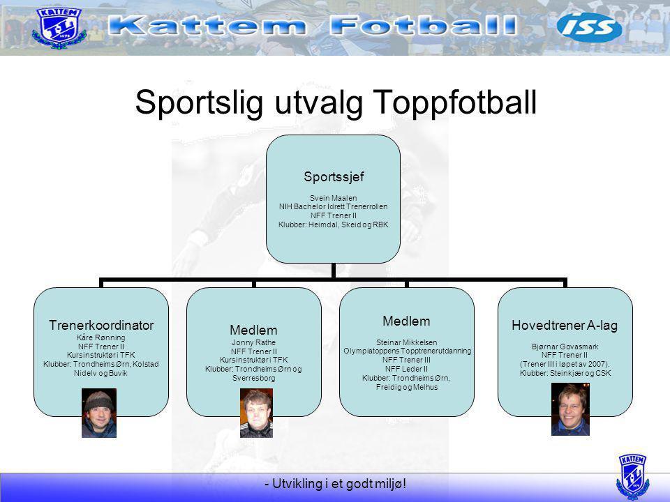 - Utvikling i et godt miljø! Sportslig utvalg Toppfotball Sportssjef Svein Maalen NIH Bachelor Idrett Trenerrollen NFF Trener II Klubber: Heimdal, Ske
