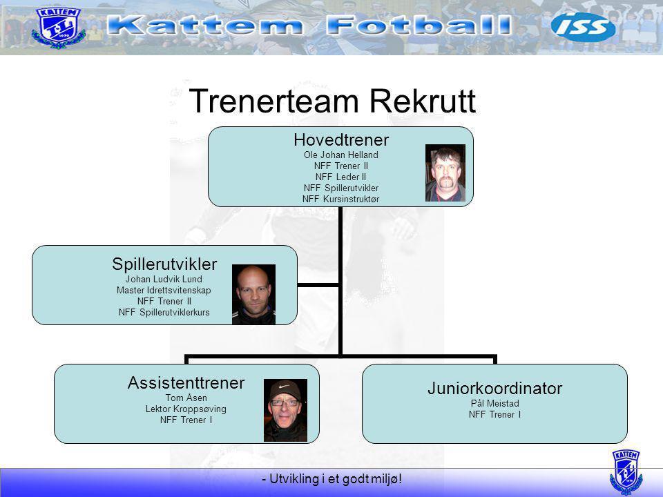 - Utvikling i et godt miljø! Trenerteam Rekrutt Hovedtrener Ole Johan Helland NFF Trener II NFF Leder II NFF Spillerutvikler NFF Kursinstruktør Assist