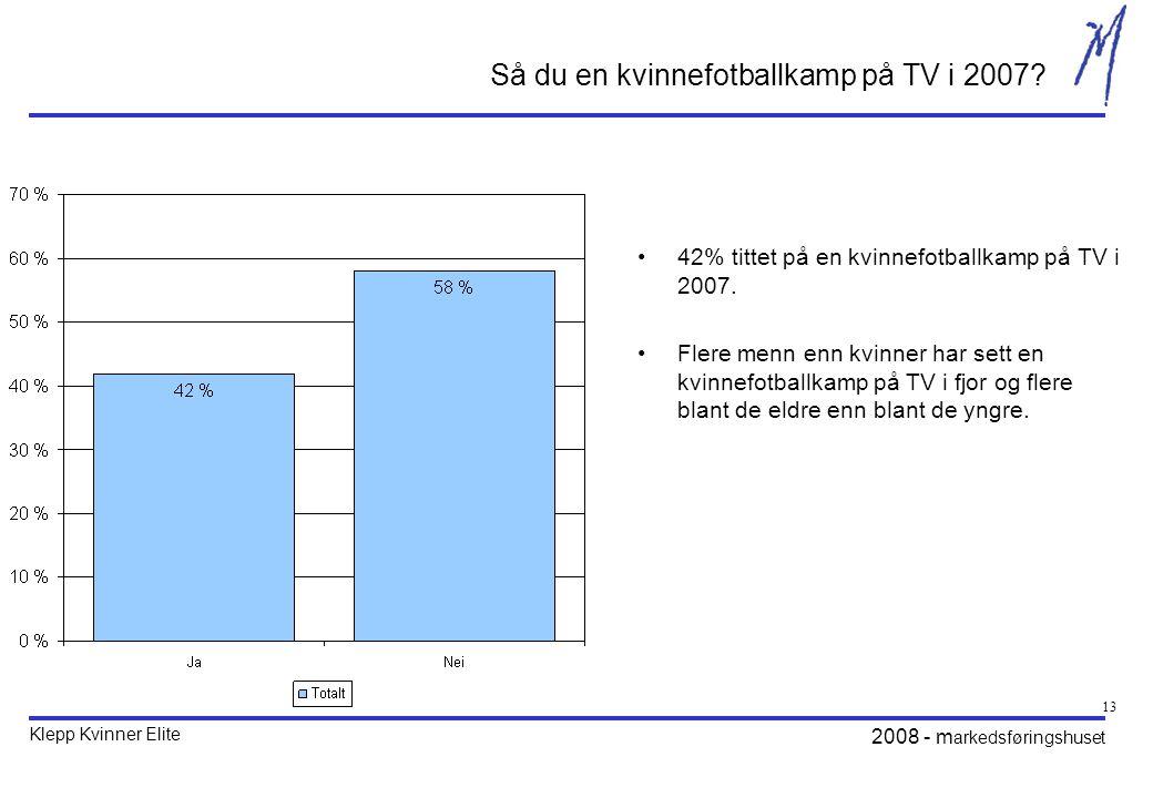 Klepp Kvinner Elite 2008 - m arkedsføringshuset 13 Så du en kvinnefotballkamp på TV i 2007.