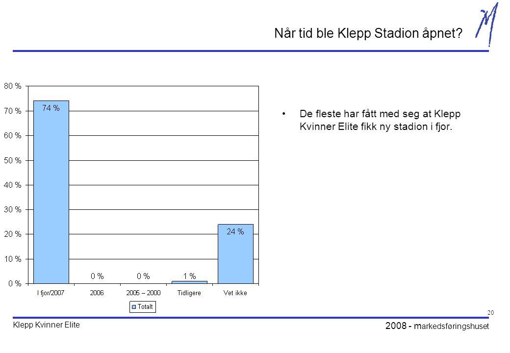 2008 - m arkedsføringshuset 20 Når tid ble Klepp Stadion åpnet.