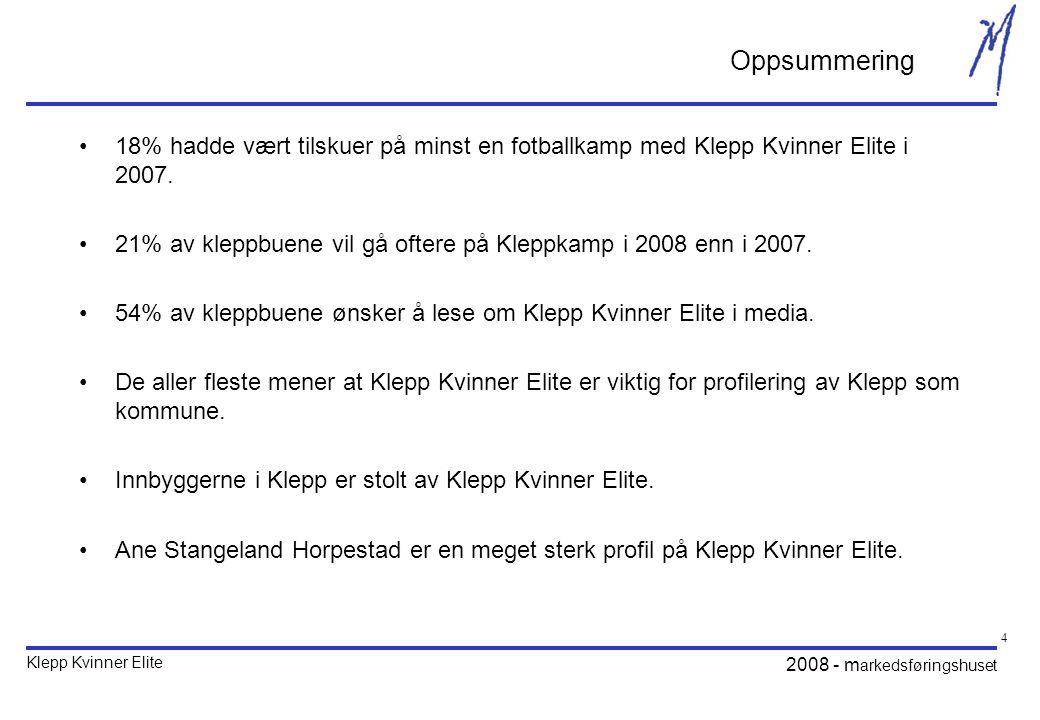 Klepp Kvinner Elite 2008 - m arkedsføringshuset 15 I 2008 vil det bli sendt atskillig mer kvinnefotball på norsk TV enn i 2007.