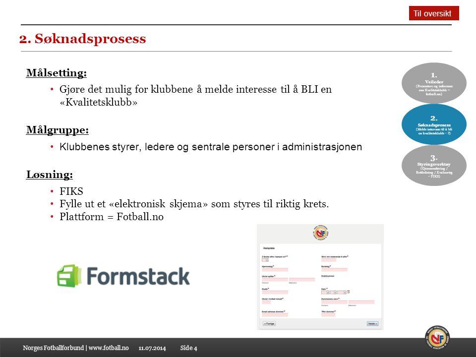 11.07.2014 2. Søknadsprosess Norges Fotballforbund | www.fotball.noSide 4 1. Veileder (Presentere og informere om Kvalitetsklubb – fotball.no) 2. Søkn