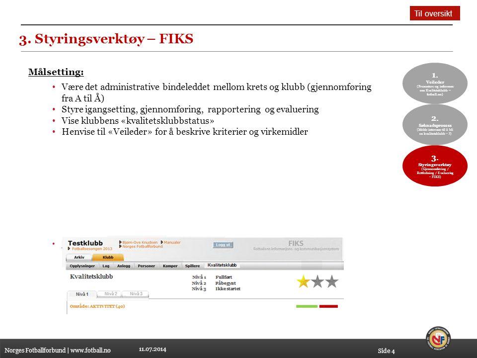 11.07.2014 3. Styringsverktøy – FIKS Norges Fotballforbund | www.fotball.no Side 4 1. Veileder (Presentere og informere om Kvalitetsklubb – fotball.no