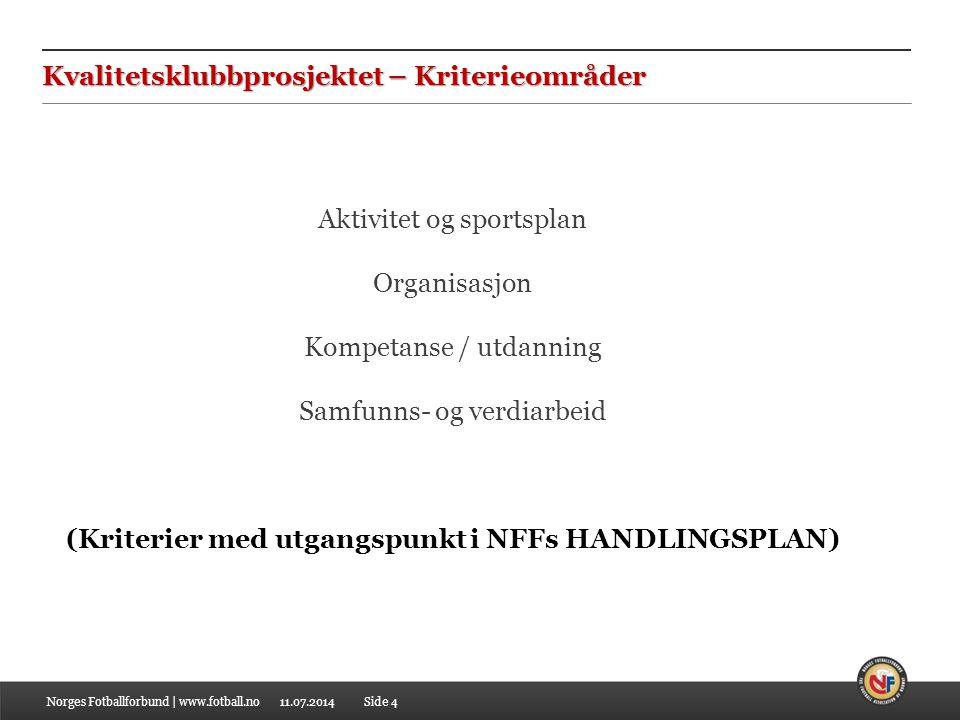11.07.2014Norges Fotballforbund | www.fotball.noSide 4 Kvalitetsklubbprosjektet – Kriterieområder Aktivitet og sportsplan Organisasjon Kompetanse / ut