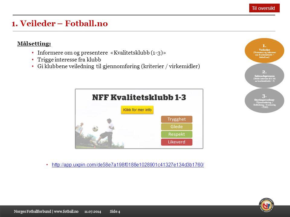 11.07.2014 1. Veileder – Fotball.no Norges Fotballforbund | www.fotball.no Målsetting: Informere om og presentere «Kvalitetsklubb (1-3)» Trigge intere