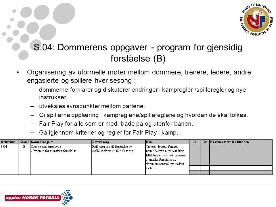 S.04: Dommerens oppgaver - program for gjensidig forståelse (B) Organisering av uformelle møter mellom dommere, trenere, ledere, andre engasjerte og s