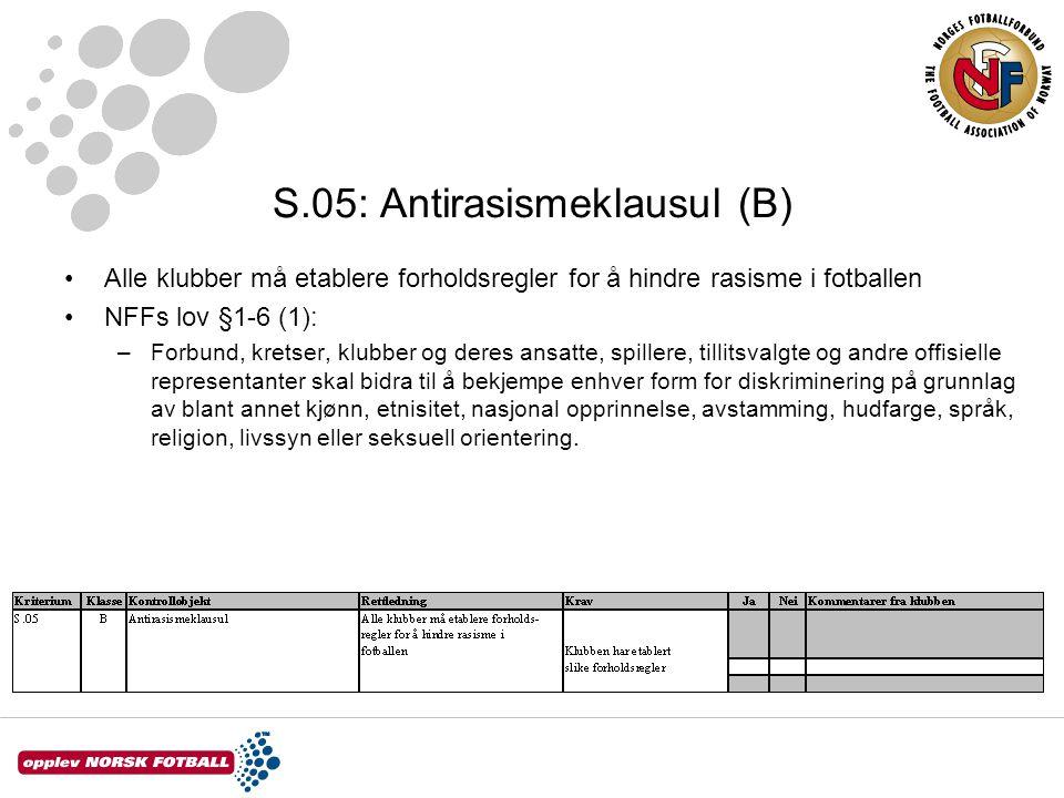 S.05: Antirasismeklausul (B) Alle klubber må etablere forholdsregler for å hindre rasisme i fotballen NFFs lov §1-6 (1): –Forbund, kretser, klubber og