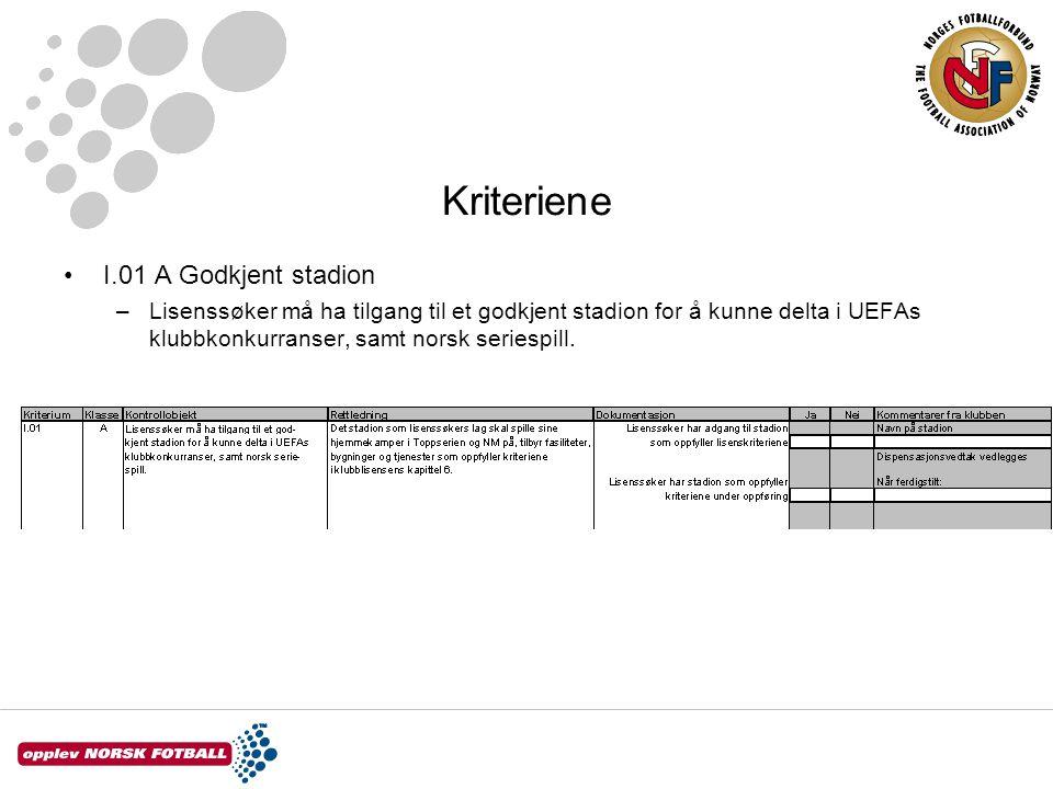 Kriteriene I.01 A Godkjent stadion –Lisenssøker må ha tilgang til et godkjent stadion for å kunne delta i UEFAs klubbkonkurranser, samt norsk seriespi