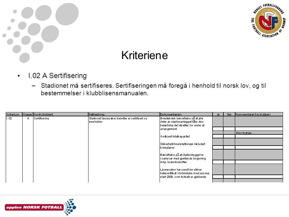 Kriteriene I.02 A Sertifisering –Stadionet må sertifiseres. Sertifiseringen må foregå i henhold til norsk lov, og til bestemmelser i klubblisensmanual