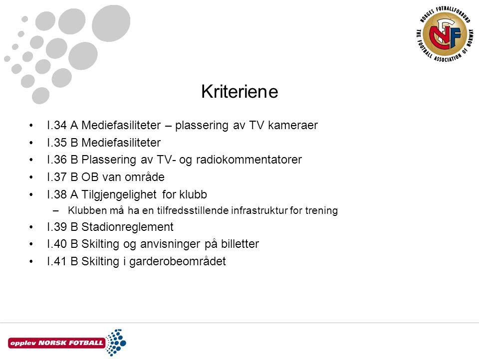Kriteriene I.34 A Mediefasiliteter – plassering av TV kameraer I.35 B Mediefasiliteter I.36 B Plassering av TV- og radiokommentatorer I.37 B OB van om
