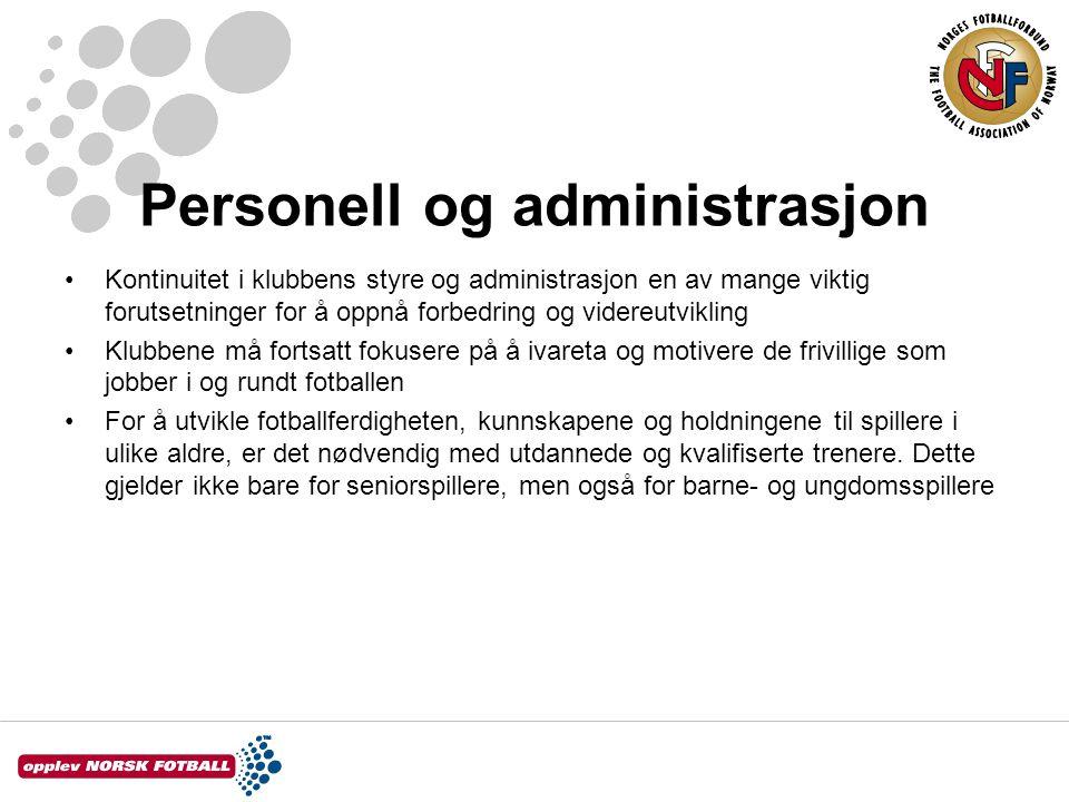 Personell og administrasjon Kontinuitet i klubbens styre og administrasjon en av mange viktig forutsetninger for å oppnå forbedring og videreutvikling