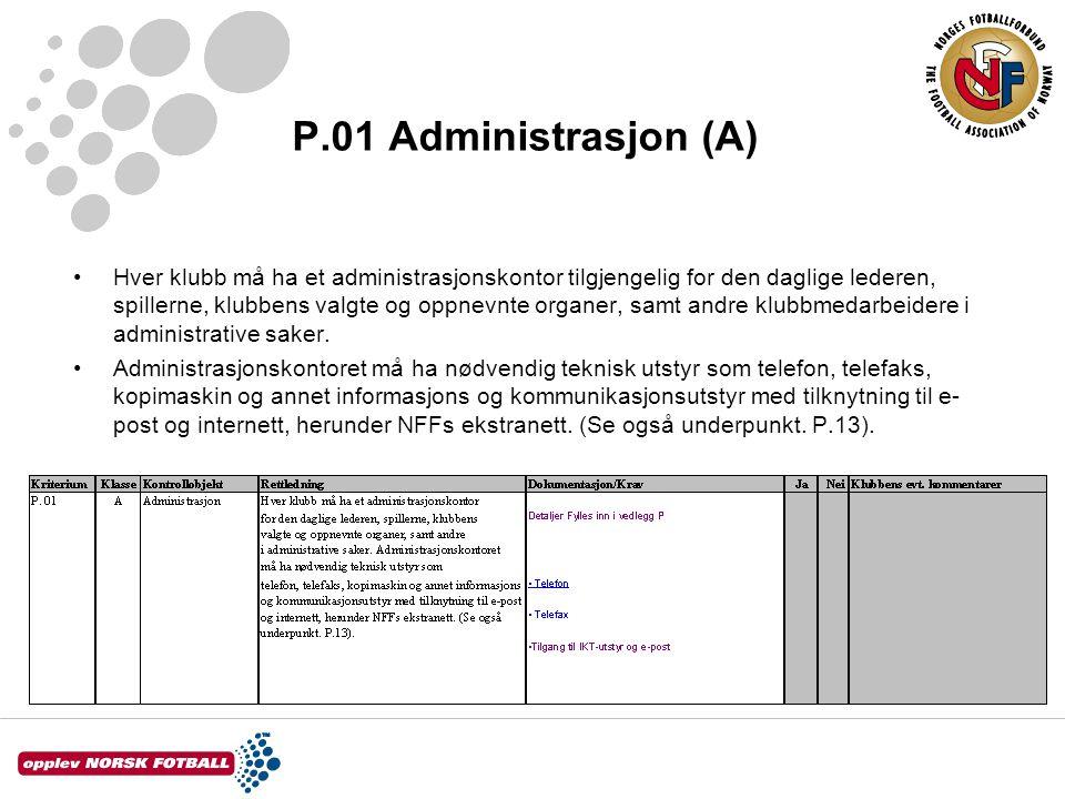 P.01 Administrasjon (A) Hver klubb må ha et administrasjonskontor tilgjengelig for den daglige lederen, spillerne, klubbens valgte og oppnevnte organe