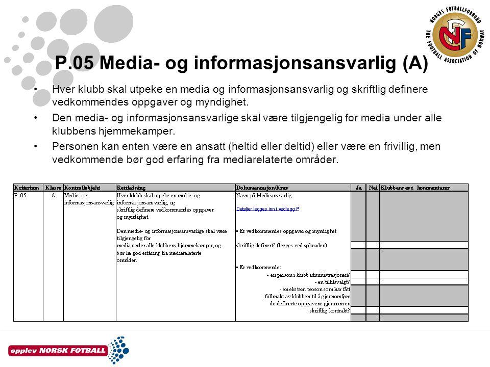 P.05 Media- og informasjonsansvarlig (A) Hver klubb skal utpeke en media og informasjonsansvarlig og skriftlig definere vedkommendes oppgaver og myndi