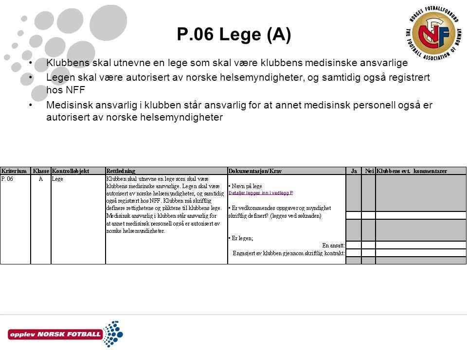P.06 Lege (A) Klubbens skal utnevne en lege som skal være klubbens medisinske ansvarlige Legen skal være autorisert av norske helsemyndigheter, og sam