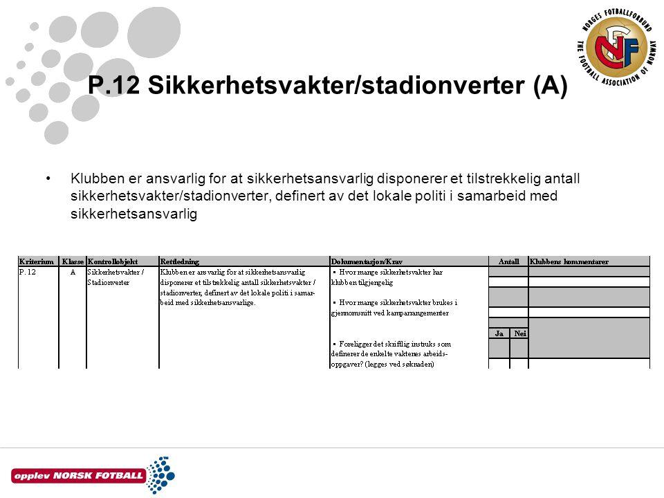 P.12 Sikkerhetsvakter/stadionverter (A) Klubben er ansvarlig for at sikkerhetsansvarlig disponerer et tilstrekkelig antall sikkerhetsvakter/stadionver